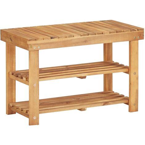 Estantería de zapatos de madera maciza de acacia 70x32x46 cm