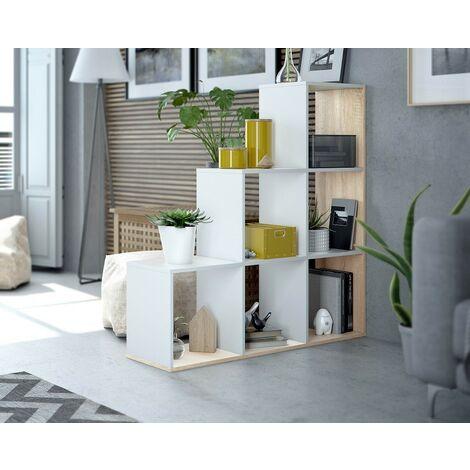 Estantería decorativa 110 cm blanco mate y roble canadiense con 6 estantes | Blanco