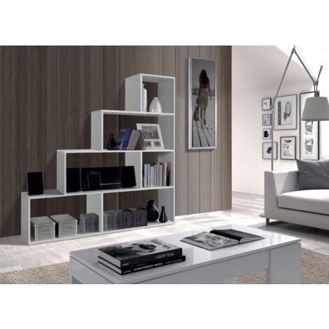 Estantería decorativa 145 cm blanco brillante 6 estantes | Blanco brillo