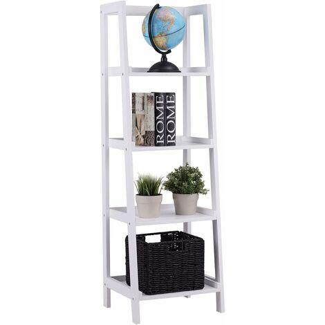 Estantería Decorativa 4 Estantes de Almacenamiento para Libros CD Florero Librería en Sala de Estar Oficina
