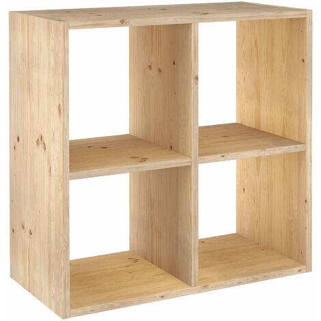 Estantería Dinamic modular con 4 cubos de madera maciza de pino 70,8x70,8x33cm