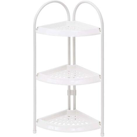 estantería ducha Eckregal con 3 bandejas de plástico Hierro blanco