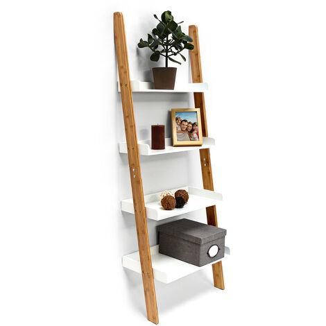 – Estantería en forma de escalera para la pared, bambú, 144 x 56 x 34 cm, 4 niveles de madera, decoración para el cuarto de trabajo y el salón, color natural y blanco