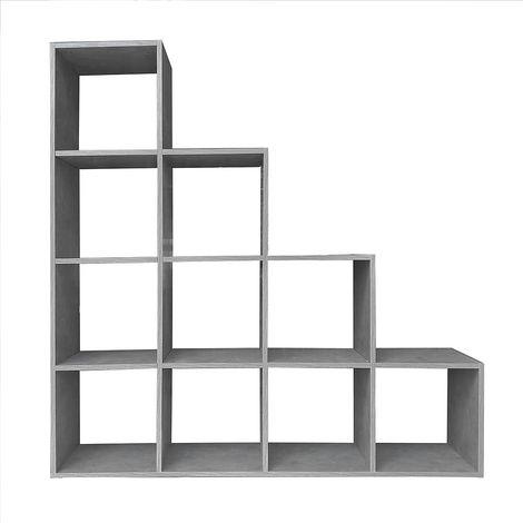 Estantería en forma de escalera Separador de habitación 10 compartimentos Gris Hormigón Blanca Librería Estantería de pie estantería de roble Estante Salón Diseño