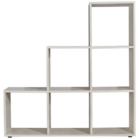 Estantería en forma de escalera Separador de habitación Blanca Librería Estantería de pie estantería de roble Estante Salón Diseño
