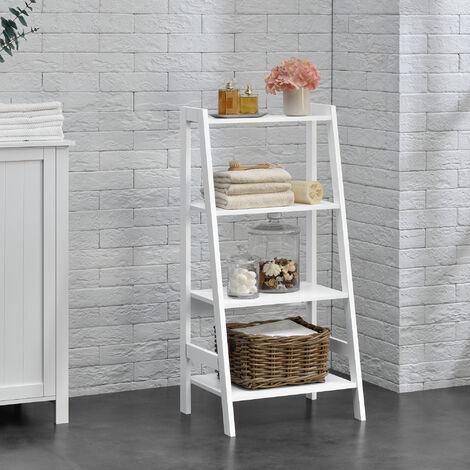 """main image of """"Estantería escalera - 90x43x32cm - blanca - con 4 compartimientos de almacenamiento"""""""