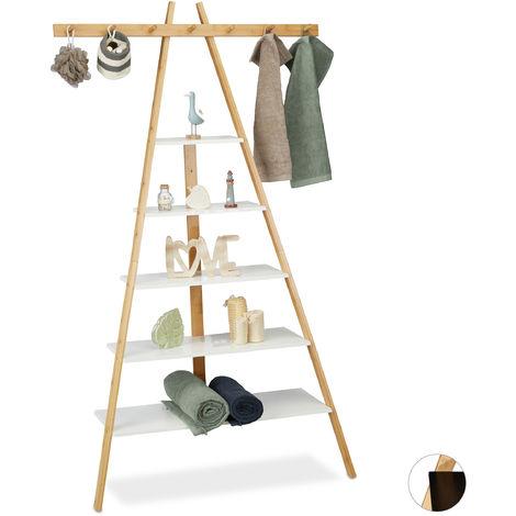 Estantería escalera, Cinco estantes, Baño, Pasillo & Dormitorio, Bambú & MDF, Inclinada, 160x90x38 cm, Blanco