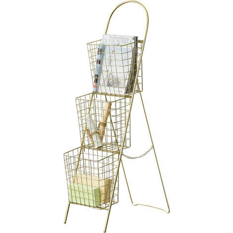 Estantería Escalera Decorativa Hensies - 106,5 x 26,5 x 55 cm - con 3 Cestas de Metal Extraíbles - Compartimientos de Almacenaje - Librería - Cobre amarillo