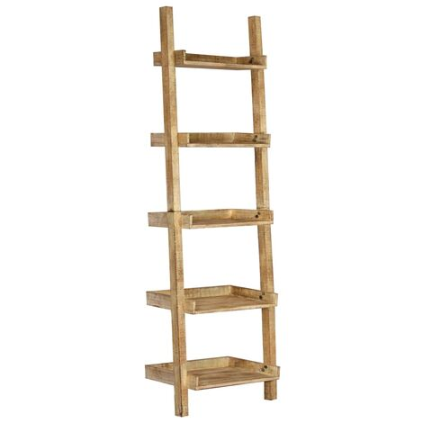 Estantería escalera marrón 75x37x205 cm madera maciza de mango