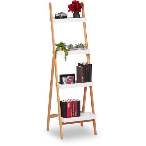 Estantería Escalera Plegable, Decorativa, Soporte Plantas, Baldas Baño, Bambú, 145x45x42 cm, Blanco y Marrón