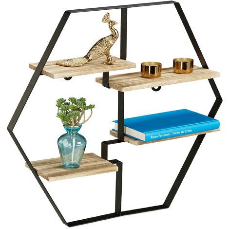Estantería hexagonal de pared, Cuatro baldas, Madera & Hierro, 52x60x12, 1 Ud., Negro & Marrón