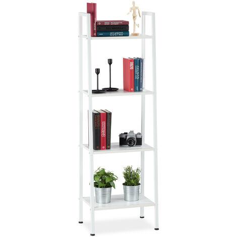 Estantería industrial de pie, Cuatro estantes, 136 x 44 x 31,5 cm, Blanco