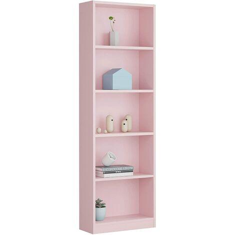 Estantería Infantil 6 baldas, librería Vertical Acabado en Color Rosa, Medidas: 180 cm (Alto) x 52 cm (Ancho)