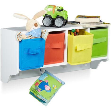 Estantería infantil ALBUS, Organizador de pared, 4 perchas, 4 cestas plegables, 28 x 61 x 16 cm, Blanco