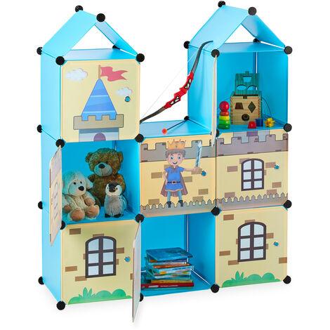Estantería infantil, Castillo feudal, Plástico, Armario con puertas, 128 x 110 x 37 cm, Multicolor
