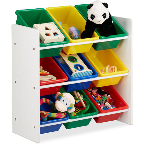 Estantería infantil con cajas, Almacenaje de juguetes, Multi-color, MDF & Plástico, 68x65x31 cm