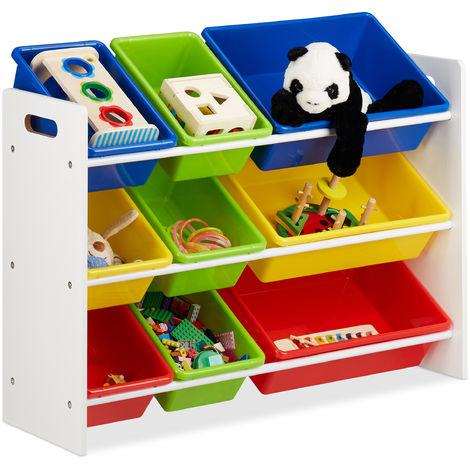 Estantería infantil con cajas, Almacenaje de juguetes, Multi-color, MDF & Plástico, 68x86x31 cm