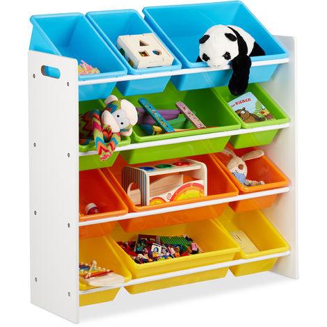 Estantería infantil con cajas, Almacenaje de juguetes, Multi-color, MDF & Plástico, 88x86x31 cm