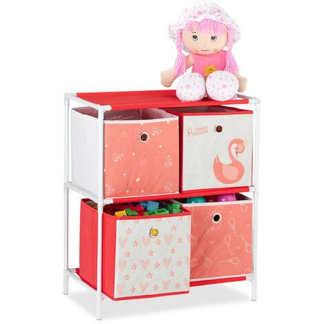 Estantería infantil con cuatro cajas, Organizador de juguetes, Cisnes, Blanco & Rojo, 62x53x30 cm