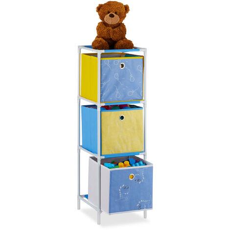 Estantería infantil con tres cajas, Almacenaje de juguetes, Unisex, 89x27,5x30 cm, Dinosaurios, Multicolor