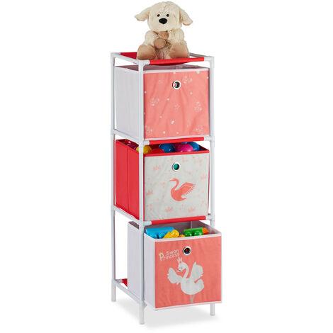 Estantería infantil con tres cajas, Organizador de juguetes, Cisnes, Blanco & Rojo, 89x27,5x30 cm