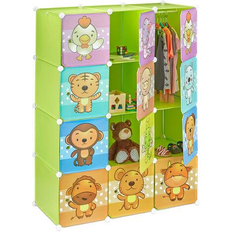 Estantería Infantil Modular con Animales, Verde, 145 x 110,5 x 46.5 cm