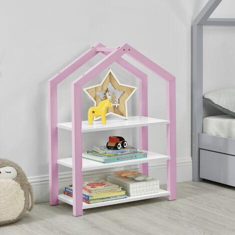 Estantería Infantil para Niños Mayen - 85 x 60 x 30 cm - Organizador con 3 Estantes - Almacenamiento para Cuarto de los niños - Librería - MDF - Rosa y Blanco