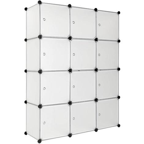 Estantería Katja - estantería modular multifuncional, mueble con paneles frontales de cierre extraíbles, cajonera resistente con cierre magnético