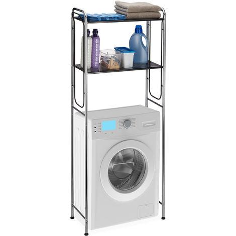Estantería lavadora, Dos estantes para el baño, Cromo y negro, 151 x 65 x 28 cm