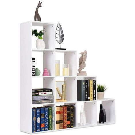 Estantería Librería 10 Compartimientos Estante de Almacenamiento Organizador para Libros CD Floreros en Escritorio Hogar Salón Oficina