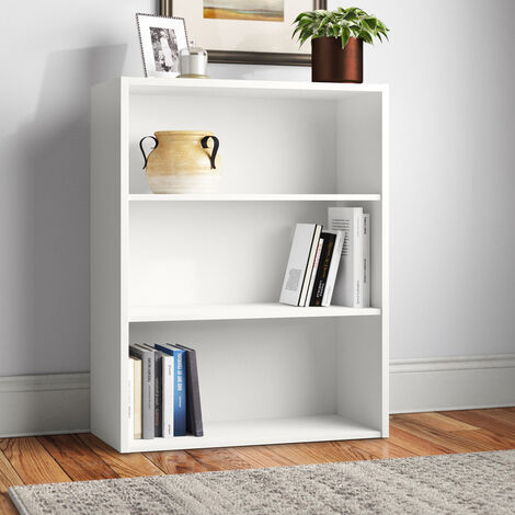 Estantería Librerìa baja blanca madera reciclada 3 compartimentos regulables en altura read