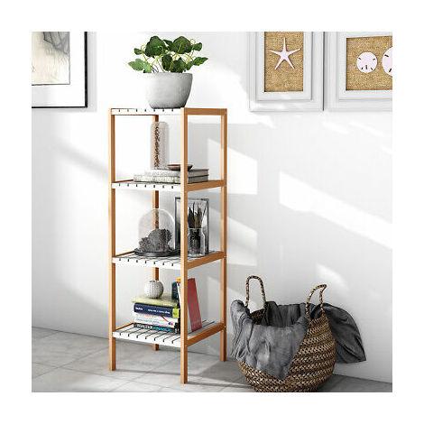 Estantería Librería de Bambú Estantería de Exposición para Salón Oficina Baño Estudio Organizador Multifuncional 4 Estantes