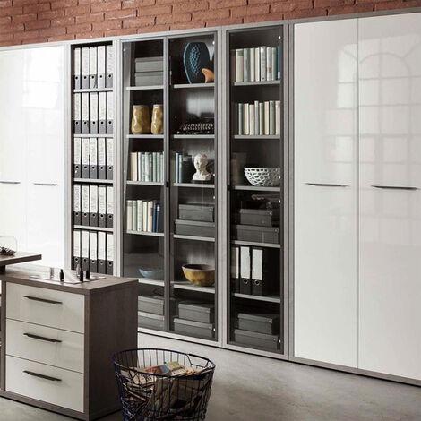 Estantería Librería de madera moderna estrecha con 6 compartimentos color gris HART