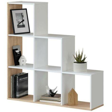 Estantería librería escalera Taris salón oficina pasillo estilo moderno color blanco y roble 110x108x28 cm