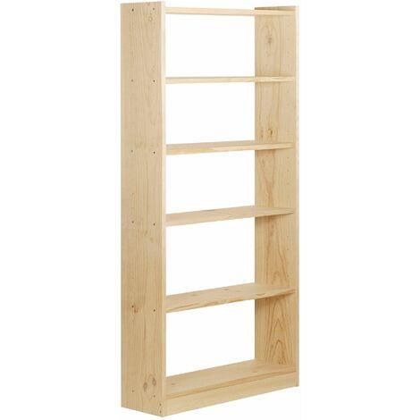 Estantería librería Gala de 6 baldas de madera maciza de pino 184,7x80x25cm