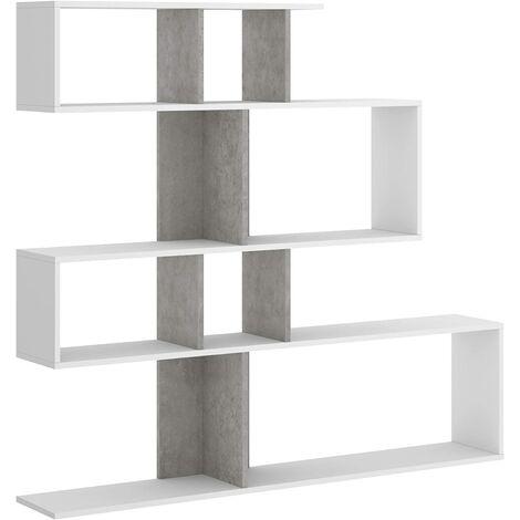 Estantería librería Melodia Comedor, Salon o Oficina, dimensiones: 45 x 145 x 29 cm de Fondo (Blanco Mate y Gris motée)