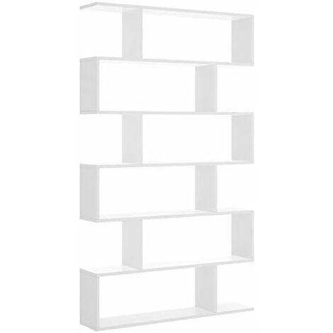 "main image of ""Estantería Librería moderna con diseño irregular de 80 cm BLANCO BRILLO 25 fondo, densidad melamina alta."""