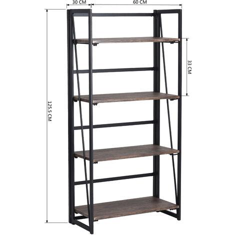 Estantería Librería Organizador Plegable de Metal Efecto Madera Diseño Industrial para Almacenamiento (125cm x 60cm x 30 cm)