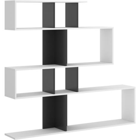 Estantería librería Zig Zag, estantería Comedor, Salon o despacho, Modelo Zig Zag, Medidas: 130 x 139 x 5 cm de Fondo (Blanco y Gris Cemento)