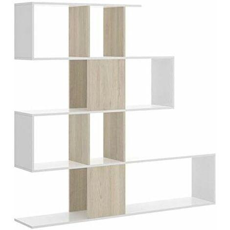 Estantería librería Zig Zag, estantería Comedor, Salon o despacho, Modelo Zig Zag, Medidas: 130 x 139 x 5 cm de Fondo (Blanco y Roble Natural)