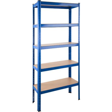 estante sin tornillos de acero y MDF 150 cm x 70 cm x 30 cm gran capacidad de 875 kg Estanter/ía de almacenamiento para garaje de acero resistente 5 estantes galvanizados 1 unidad
