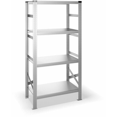 Estantería metálica con estantes - acero galvanizado - 500 mm profundidad