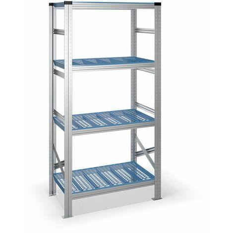 Estantería metálica con estantes de plástico - acero galvanizado - 500 mm profundidad