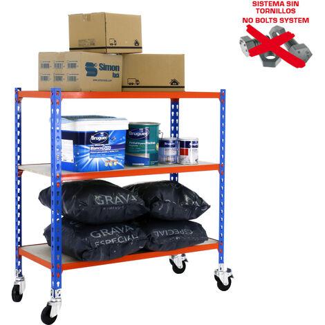 ESTANTERIA METALICA MADERCLICK CON RUEDAS 3/400 900 AZ/NAR/MAD 900x900x400mm
