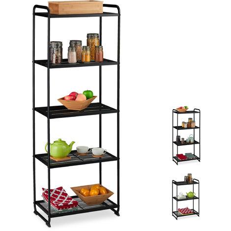 Estantería metálica, Mueble de almacenaje, Universal, Cinco estantes, 161x58x34 cm, 1 Ud., Negro
