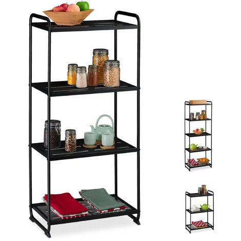 Estantería metálica, Mueble de almacenaje, Universal, Cuatro estantes, 124,5x58x34 cm, 1 Ud., Negro