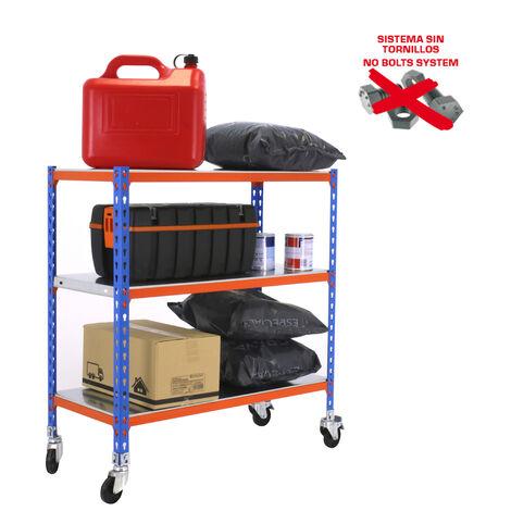 ESTANTERIA METALICA SIMONCLICK CON RUEDAS PLUS 3/500 900 AZUL/NAR/GALV 900x1000x500mm