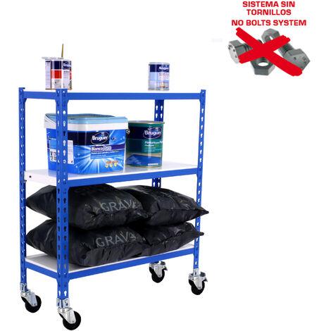 ESTANTERIA METALICA SIMONCLICK CON RUEDAS SUPERPLUS 3/300 900 AZUL/BLA 900x1100x300mm