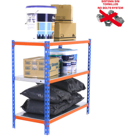 ESTANTERIA METALICA SIMONCLICK PLUS 3/300 900 AZUL/NARANJA/GALVA 900x1000x300mm