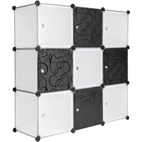 Estantería modular 9 piezas - estantería modular multifuncional, mueble con paneles frontales de cierre extraíbles, cajonera resistente con cierre magnético - blanco
